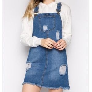 Dresses & Skirts - Denim frayed overall dress